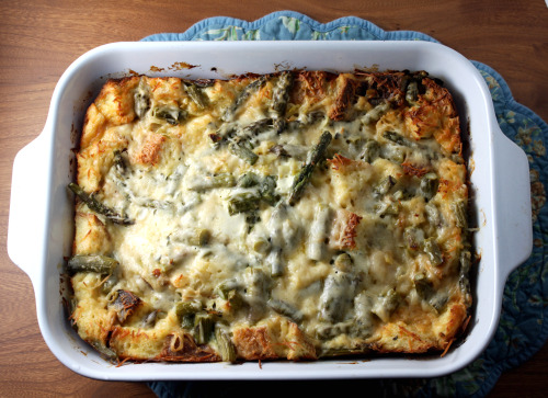 Asparagus and Leek Bread Pudding: